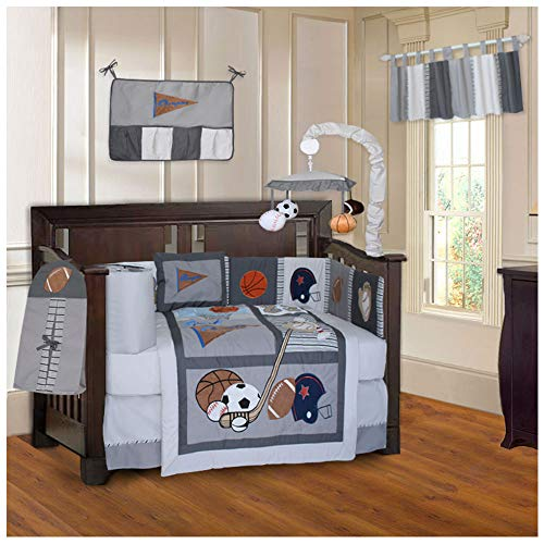 BabyFad Sports Champion Grey 10 Piece Baby Crib Bedding Set Baby Boy Sports Bedding
