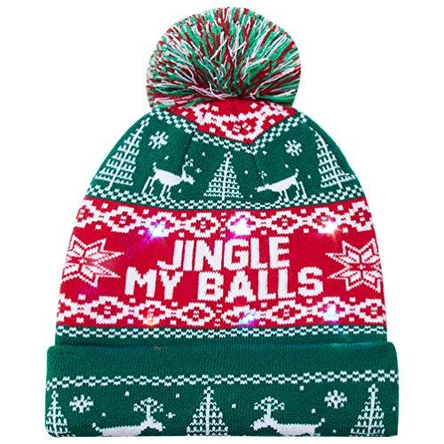 Goodstoworld Männer Frauen Jungen Mädchen LED Leuchten Weihnachtsmütze Muster Weihnachten Licht Hut für Party 6 Bunten LED Strickmütze Beanie Mütze Wintermütze Christmas Santa Hat