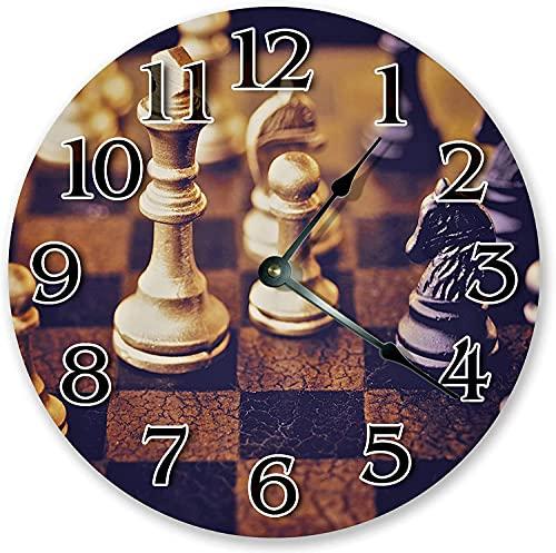 Juego de ajedrez reloj de pared redondo de juego de ajedrez, juego de mesa de ajedrez, silencioso, de madera, grande, redondo, de cuarzo, funciona con pilas, estilo vintage,...