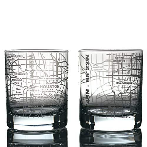 Geätzt Old Fashioned Whisky Gläser–mit Geschenk-Box | 2City Map Tumbler Houston, TX