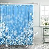 N\A Cortina de Ducha Decorativa Tormenta de Nieve Copos de Nieve Blancos en Azul Ventisca de Navidad Cortinas de baño Resistentes al Moho Resistentes al Agua Set con Ganchos