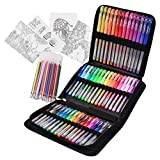 Typecho 96 Color Artist Gel Pen Set with Portable Travel Case, Includes 24 Glitter, 10 Metallic, 7 Neon, 6 Pastel, 1 Classic Red, Plus 48 Matching Color Refills