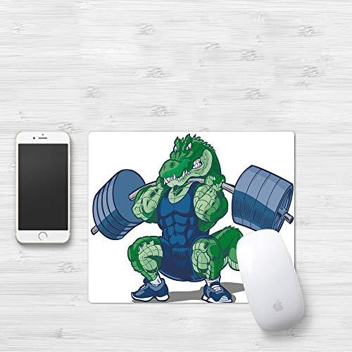 Comfortable Mouse Pad 320x250 mm,Animal, caricatura, cocodrilo africano, deportivo, musc,Gaming Matte superficie lisa para ratón de goma antideslizantes con Designs para gamer y Office trabajo
