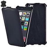Manna iPhone 6 Plus 5,5 Zoll UltraSlim Hülle | Flip Case | Nappa Leder Astana, schwarz mit farblich...
