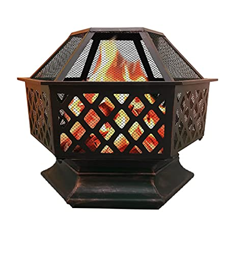 Outdoor fire pits , Braziers , Hexagonal Fire Pit Stove Patio Heater With Poker for Garden, Backyard, Poolside w/Flame-Retardant Mesh Lid (Rustic)