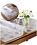 1.5Mm Thick Clear Table Cover Protector, Rectangular Non-Slip Waterproof Office Computer Desk Protection Cover Mat Pad for Coffee Table, Writing Desk Easy Clean Wipeable Plastic PVC Vinyl Tablecloth,L