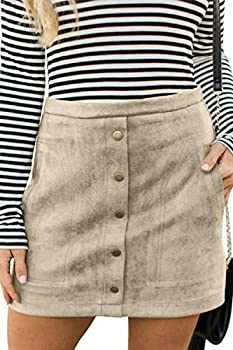 Meyeeka Women Faux Suede Clubwear Button Front Plus Size Bodycon Mini Short Skirt Green XL Beige