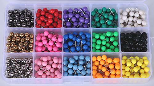 AnMiao Star 750pcs Map Tacks Push Pins 1/4 Inch Diameter Plastic Round Head and 7/16 inch Steel Needle Points,15 Colors, Used for Marking Craft Office and Home on Map,Bulletin Board or Cork Boards.