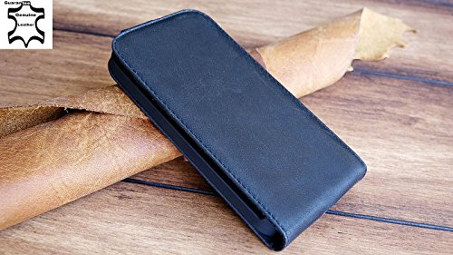Urcover Akira Hand Made [Echt Leder] Handyhülle kompatibel mit Motorola Moto G Cover Handgemacht Case Schutzhülle Etui Flip Wallet Pen Schwarz