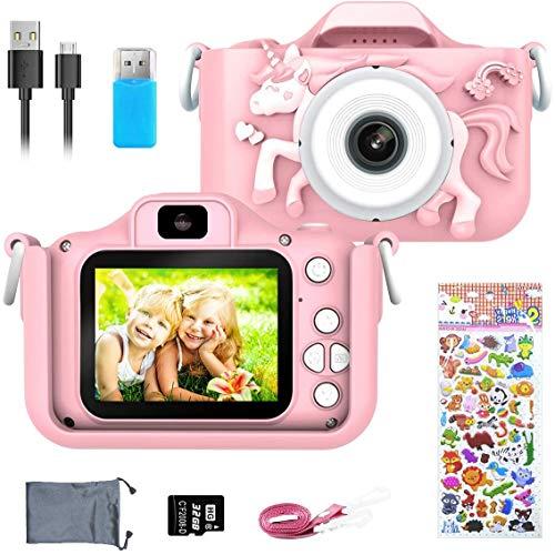 ERAY Appareil Photo Enfants, Caméra Numérique pour Enfants 20 MP Photo & 1080P HD Vidéo/Double Objectif/Selfie Caméra/ 8X Zoom/Arrêt Automatique/Carte TF de 32 Go Fourni, Rose