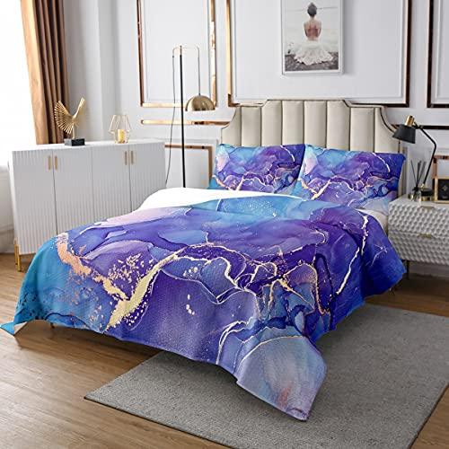 Glitter Flüssigkeit Steppdecke Blau Blaugrün Goldener Marmor Tagesdecke 240x260cm für Kinder Frauen Welle Treibsand Bettüberwurf Regenbogen Luxus Dekor Raumdekor 3St