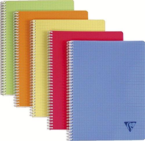 Clairefontaine 328325C - Un cahier à spirale Linicolor 100 pages 24X32 cm 90g petits carreaux, couverture polypro (plastique) couleur aléatoire Fresh