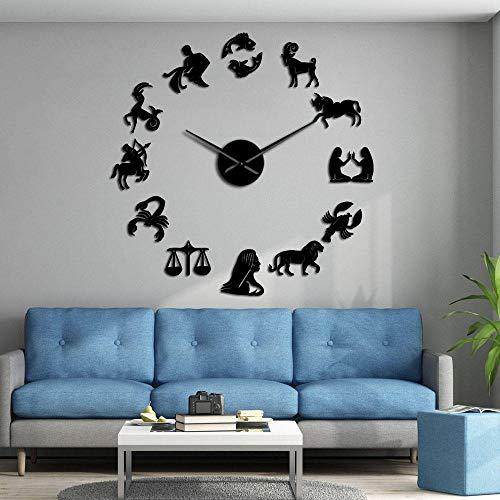 KKLLHSH DIY Gran Reloj De Pared,Animal 3D Relojes De Pared Espejo Pegatina para Ministerio del Interior Decoraciones-47 Inch