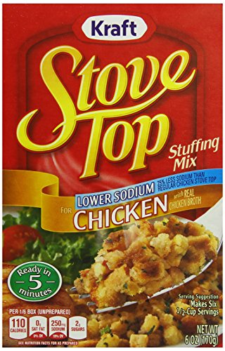 packaged stuffing side dishes Stove Top Stuffing Mix, Chicken, Low Sodium, 6-Ounce Boxes (Pack of 12)