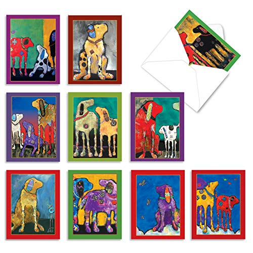 10 Assorted Thank You Notes with Graphics of Artistically Painted Dogs - 'Painted Pups' Colorful Gratitude Greeting Card Set 4 x 5.12 inch for Any Occasion - M2320