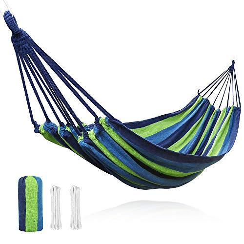 V VONTOX Hamaca Colgante para 2 Personas, 150 cm x 250 cm Ultraligera Hamaca de Camping Capacidad de 500 Libras para Viajes, Acampar, Jardín