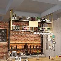 AERVEAL 金属天井バーワイングラスラックカスタマイズ可能なロゴキッチン/バー/レストランラック用の2層ワイングラス乾燥ラック,#2,120Cm(47.2In)