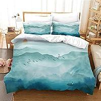 寝具セット3Dデザインパターンキングサイズ羽毛布団キルトカバー 240x220cm 日の出の森の風景 マルチカラーベッドルーム装飾ベッドセットジッパークロージャーイージーケア