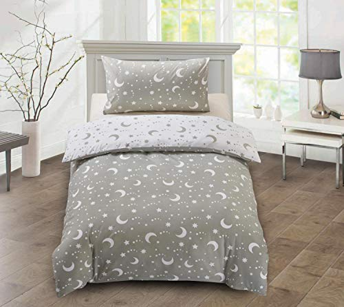 Utopia Bedding Kids Bedding Set - Stars & Moon Reversible Duvet Cover Set - Microfibre Duvet Cover & 1 Pillowcase - (Single, Grey & White)
