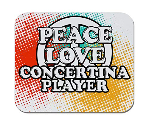 Makoroni - Peace Love Concertina Player Music- Non-Slip Rubber - Computer, Gaming, Office Mousepad