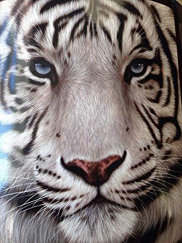 YISUMEI Decke 150x200 cm Kuscheldecken Sanft Flanell Weich Fleecedecke Bettüberwurf Weißes Gesicht Tiger