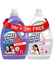 Maxkleen AntiBacterial Liquid Detergent with 2in 1 Softergent Formula and Baby Soft AntiBacterial and Gentle Liquid Detergent, 3L + 3L
