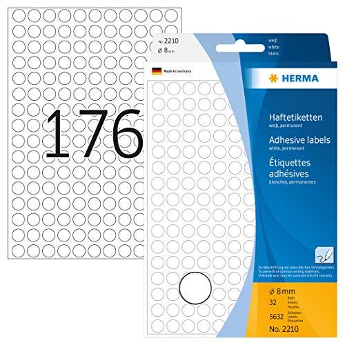 HERMA 2210 Vielzweck-Etiketten / Farbpunkte rund (Ø 8 mm, 32 Blatt, Papier, matt) selbstklebend, permanent haftende Markierungspunkte zur Handbeschriftung, 5.632 Klebepunkte, weiß