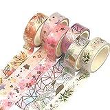 Yubbaex Washi Tape Set VSCO Goldene Foliendruck Masking Tape Dekoratives Klebeband für...