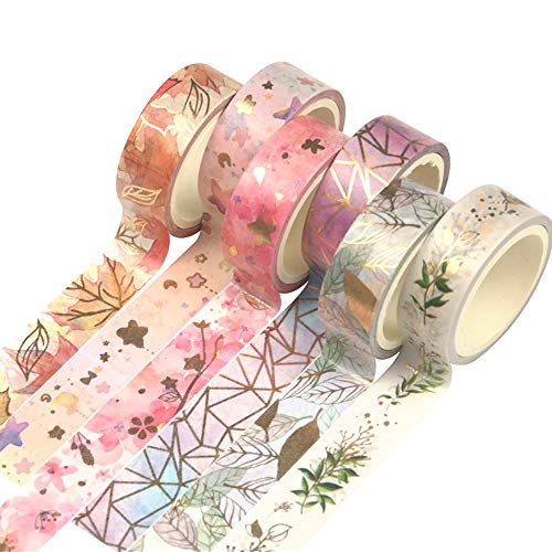 YUBBAEX Floral Gold Washi Tape Set VSCO Foil Masking Tape Decorative for Arts DIY Crafts Bullet Journal Supplies Planners Scrapbook Card/Gift Wrapping 15mm Fromantic 6 Rolls