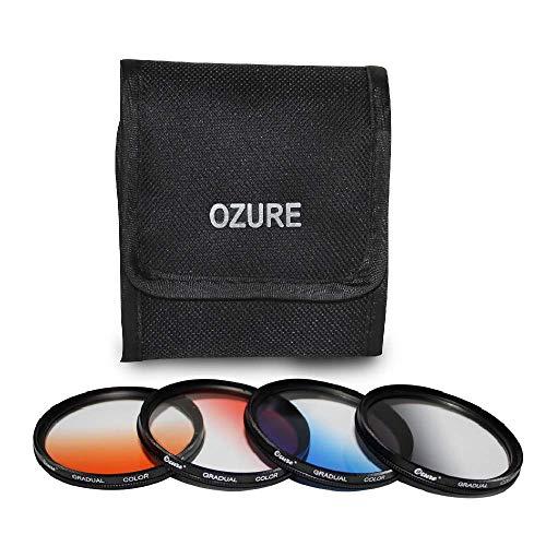 Ozure Graduated Filters (Set of Four Colours)(Red,Orange, Blue & Grey) (77mm)