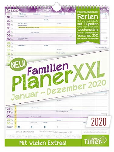 FamilienPlaner XXL 2020 mit 7 Spalten, 33 x 44 cm | Wandkalender Januar - Dezember 2020 | Familienkalender Wandplaner: Ferientermine, viele Zusatzinfos + Vorschau bis März 2021