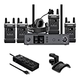 Hollyland Full-Duplex Intercom System with Four Beltpack Transceivers Bundle with 6-Outlet Surge Protector & Headphone Holder