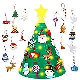 TATAFUN Albero di Feltro di Natale in 3D, 18 Fai-da-Te Ornamenti Staccabili + 50 Luci a LED Regali di Natale Decorazioni per Bambini Natalizie