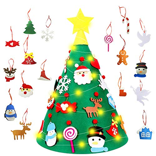 TATAFUN Albero di Feltro di Natale in 3D, 18 Fai-da-Te Ornamenti Staccabili + 50 Luci a LED Regali di Natale Decorazioni per...