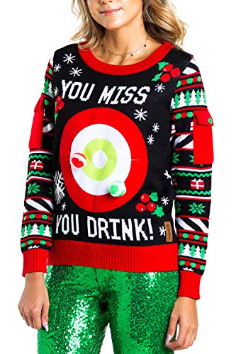 Tipsy Elves Women's Drinking Game Ugly Christmas Sweater: Large Black