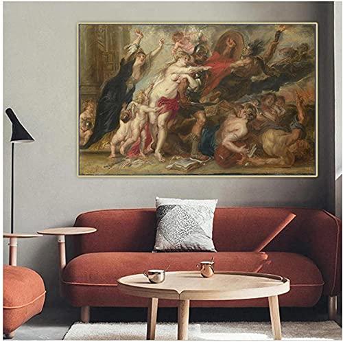 XMYC Cuadros de Pared Peter Paul Rubens 《Horrores de la Guerra》 Pintura en Lienzo Obra de Arte Póster Imagen Decoración del hogar 60x80cm sin Marco