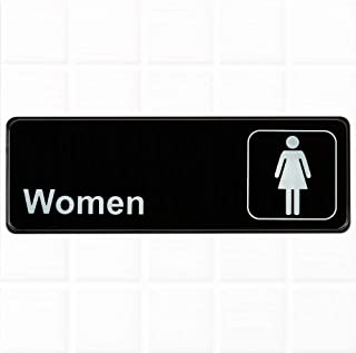 Women Restroom Sign - Black and White, 9 x 3-Inches Womens Bathroom Sign, Restroom Signs for Door/Wall by Tezzorio