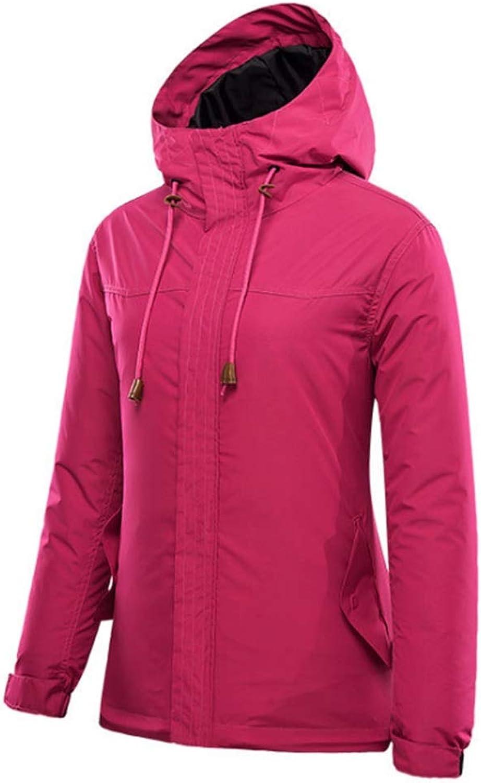 CEFULTY Women's Hooded Waterproof Fleece Ski Jacket Windproof Thicken Windbreaker (color   04, Size   XXXL)