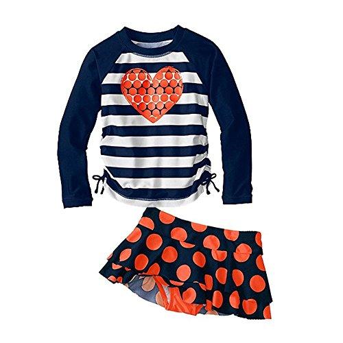 Vivobiniya Kids Swimsuits Girl's Two-Piece Long Sleeve Swimsuits UPF50+ (10(9 H47.2in), Blue)