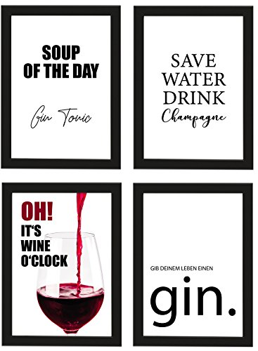 "Poster 4er-Set \""Trinken\"", Schwarz gerahmt DIN A4, Soup of the day Gin Tonic, Save water, drink champagne etc., Poster, Dekoration, Wandbild, Geschenk, Getränke, Gin, Wein (Schwarz gerahmt DIN A4)"