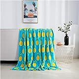 Elegant Comfort Velvet Touch Ultra Plush Christmas Holiday Printed Fleece Throw/Blanket-50 x 60inch, (Pineapple)