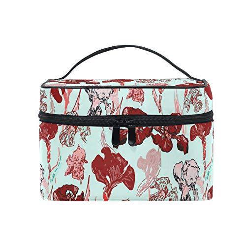 Ahomy Trousse de voyage pour maquillage Van Gogh Peinture à l'huile Rouge Irises Fleurs Portable Train Case Organisateurs Cosmétiques Trousse de toilette Sac de voyage pour femme