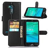 Guran Funda de Cuero PU para ASUS Zenfone Go ZB551KL (5.5') Smartphone Función de Soporte con Ranura para Tarjetas Flip Cáscara Magnético Caso - Negro