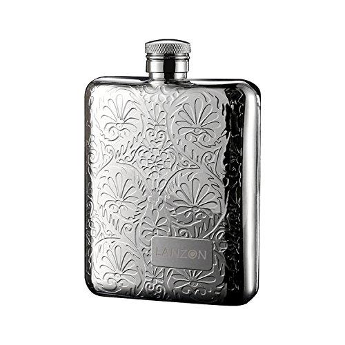 LANZON Fiaschetta Tascabile con Imbuto, Fiaschetta in Acciaio Inox,Bottiglia Tascabile per Liquori e Alcolici Vari | Capacità di 6 OZ | Confezione Regalo (motivo floreale)