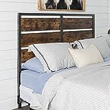 Walker Edison Rustic Metal Slatted Queen Headboard Footboard Bed Frame Bedroom, Reclaimed Wood