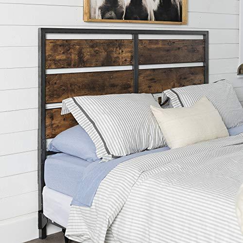 Walker Edison Rustic Metal and Wood Slatted Queen Bed Headboard Footboard Bed Frame Bedroom, Queen, Reclaimed Wood