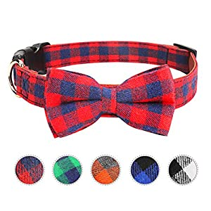 Vaburs Dog Bow Tie, Dog Cat Collar with Bow Tie Buckle Light Plaid Dog Collar for Dogs Cats Pets Soft Comfortable,Adjustable (S, Red)