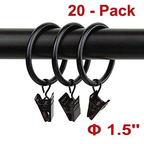 "20pcs Rustproof Drapery Matte Stainless Steel Metal Curtain Rings with Clips 1.5 inch Drapery Rings, Vintage Black (1.5"" Interior Diameter)"