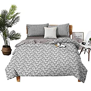 DRAGON VINES 4pcs Bedding Set Bedding 3D Digital Printing Quilt King Size Sheets Monochrome Lotus Flower Composition with Swirled Lines Abstract Pattern Black White Wedding Bed