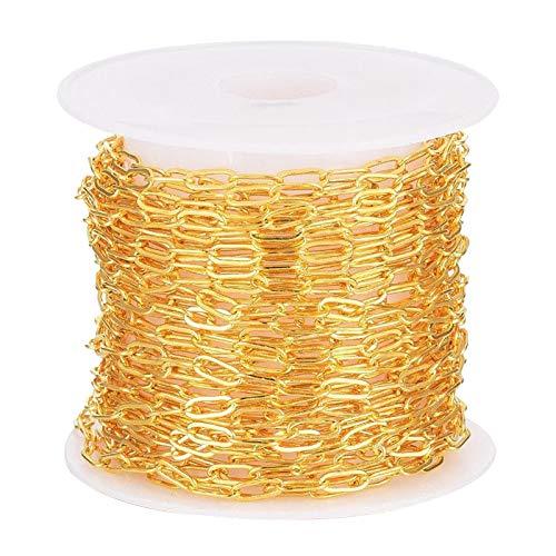 joyMerit 1 Rollo de Eslabones de Cadena de Cable de Latón de 16 Pies, Accesorios de Cadena para Hacer Joyas DIY, Accesorios Hechos a Mano, Collar, Pulsera, Cad